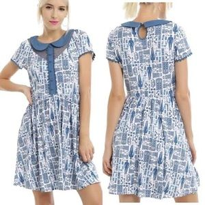 Doctor Who BBC blue Skater Tardis Dress M